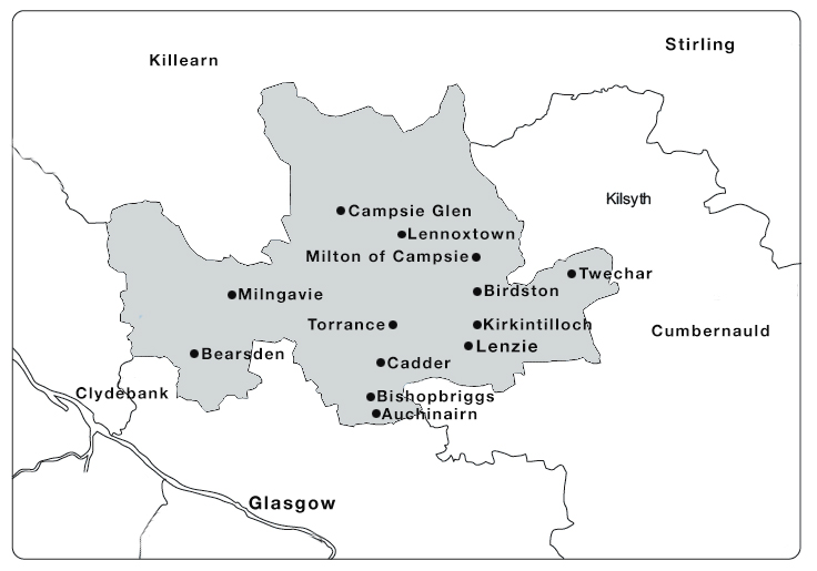 Map of East Dunbartonshire Towns and Villages